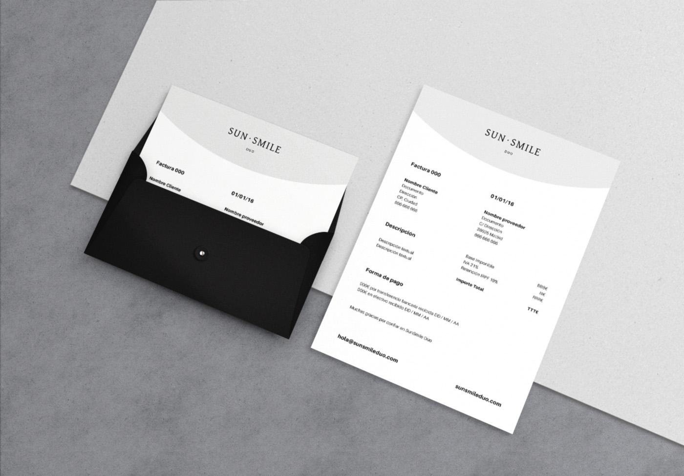 SunSmile Diseño gráfico papelería factura
