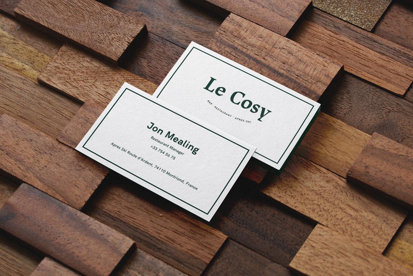 Le Cosy Bar Identidad restaurante tarjetas diseño