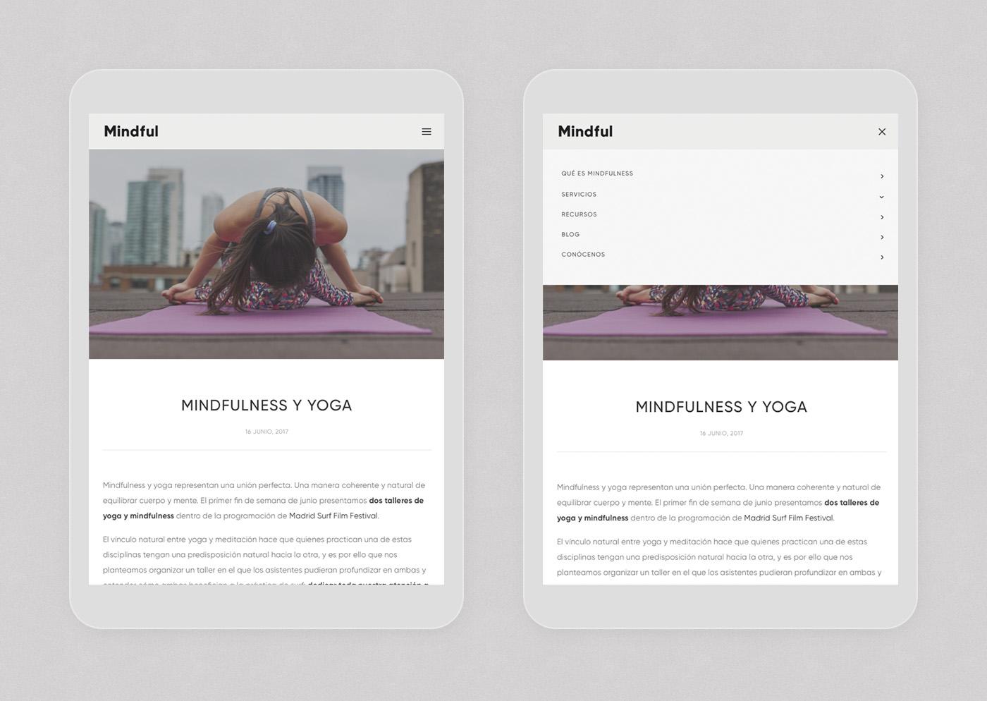 Mindful Mindfulness web design responsive tablet