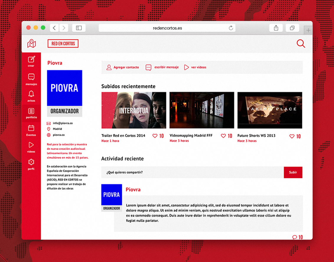 Red en cortos ux design profile