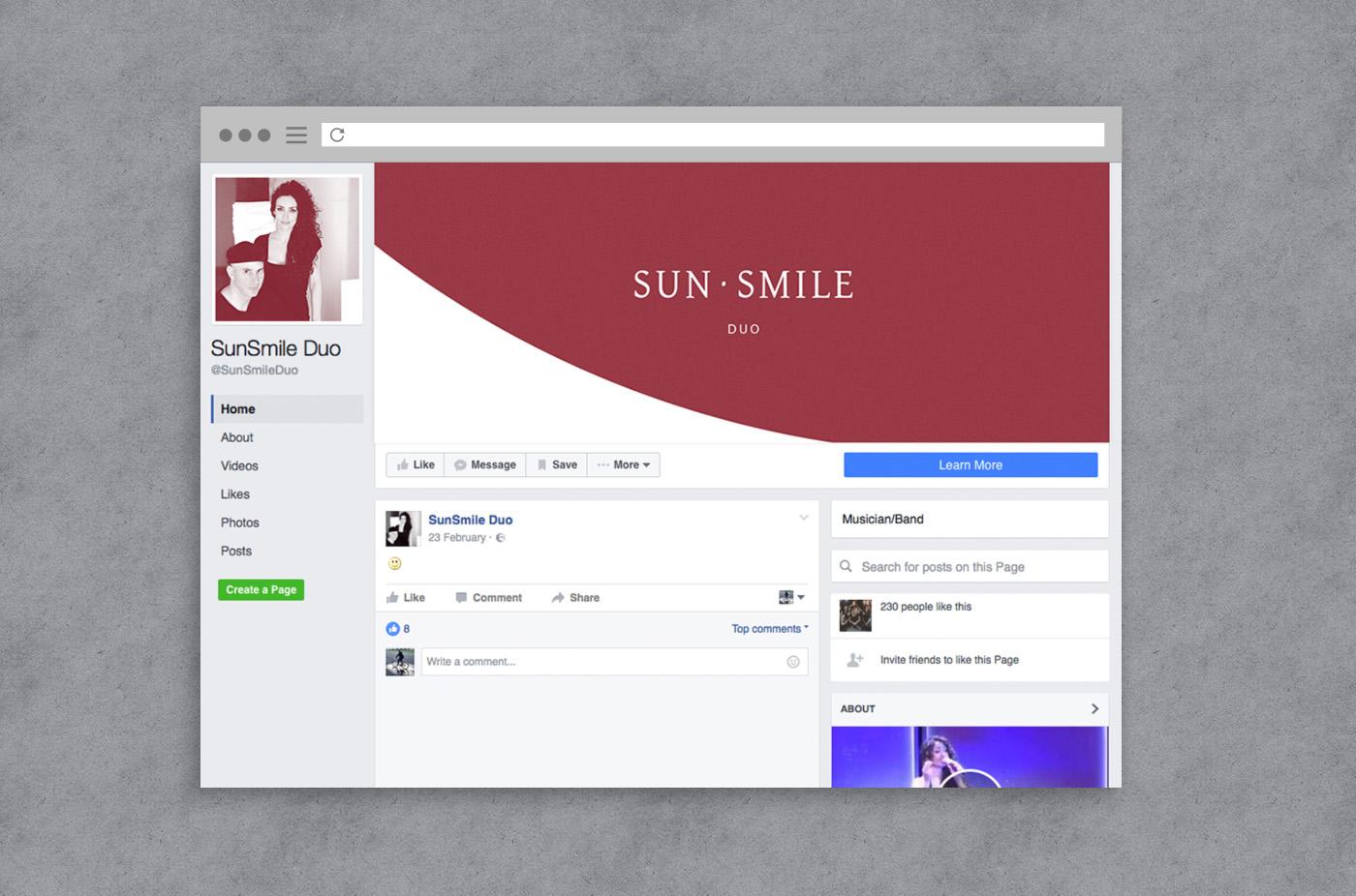 SunSmile design social media facebook