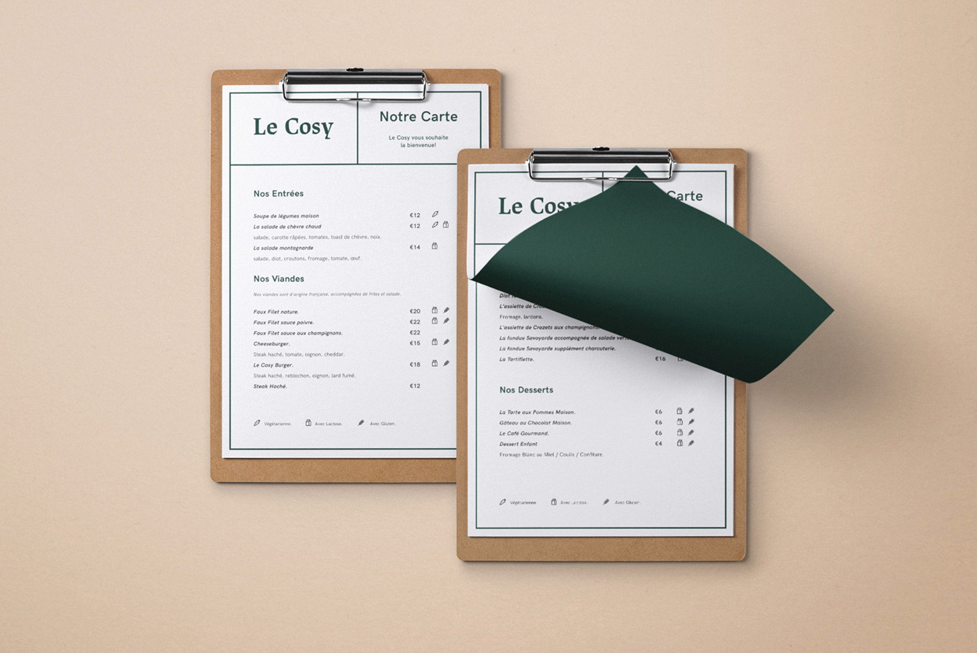 Le Cosy Bar Graphic Design Menu
