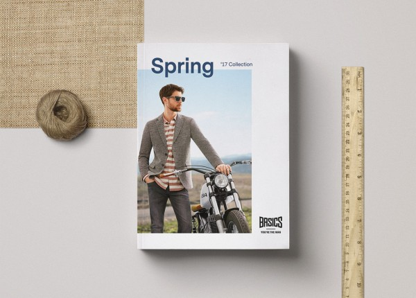Basics spring catalog editorial design cover